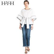 580a1d9d2a1fb16 HYH HAOYIHUI Лето для женщин блузка сплошной белый галстук спереди мягкие  повседневное Свободная рубашка Половина рукава