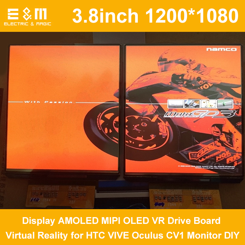 E&M 2 Screen 90hz 3.8 Inch 1200*1080 Display AMOLED MIPI OLED VR Drive Board Virtual Reality For HTC VIVE Oculus CV1 Monitor DIY