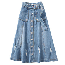 купить XL-5XL Plus Size Hole Denim Skirt Women Summer Fashion Button Jean High Waist Skirts Casual Vintage A-line Denim Skirts Womens по цене 1145.66 рублей