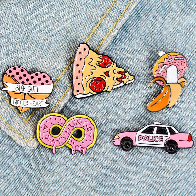 Merah Muda Koleksi Zombie Pizza Donat Hot Dog Jantung Pisang Butt Car Tak Terbatas Keras Enamel Kerah Pin Bros