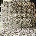 Silver 1Yards 6rows Daisy Flower Diamond Mesh Bling Crystal Ribbon Wrap Trim Wedding Cake Candle Holder Decoration Casamento