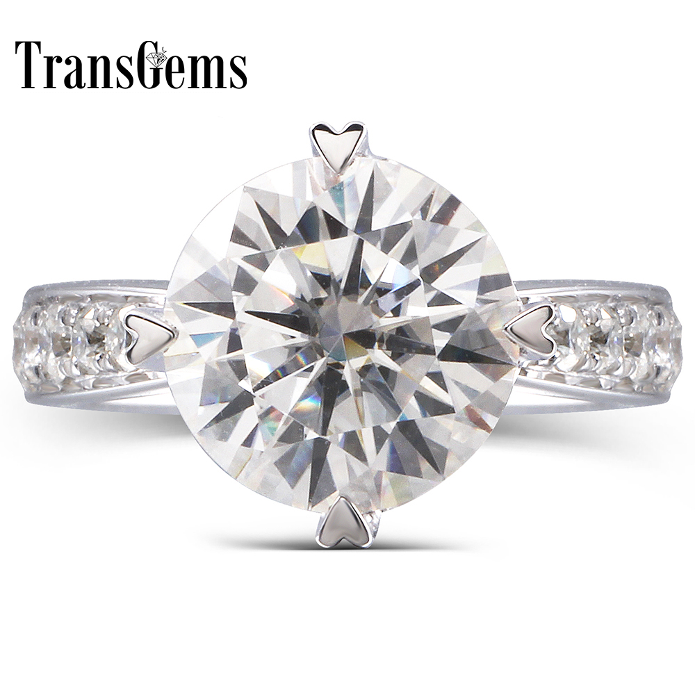 TransGems 1.5 Ct Lab Grown Moissanite Heart Shaped Wedding Ring Moissanite Accents Solid 14K White Gold Women in Fine Jewelry transgems 1 6 ctw carat lab grown moissanite diamond eternity band solid 14k yellow and white gold engagement anniversary ring