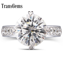 TransGems 1.5 Ct Lab Grown Moissanite Heart Shaped Wedding Ring Accents Solid 14K White Gold Women in Fine Jewelry
