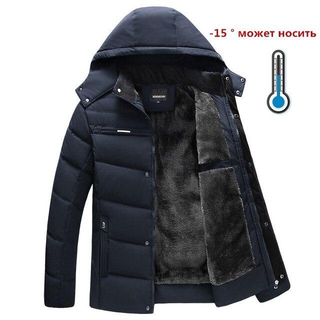 New Winter Jacket Men  15 Degree Thicken Warm Men Parkas Hooded Fleece Mans Jackets Outwear Cotton Coat Parka Jaqueta Masculina