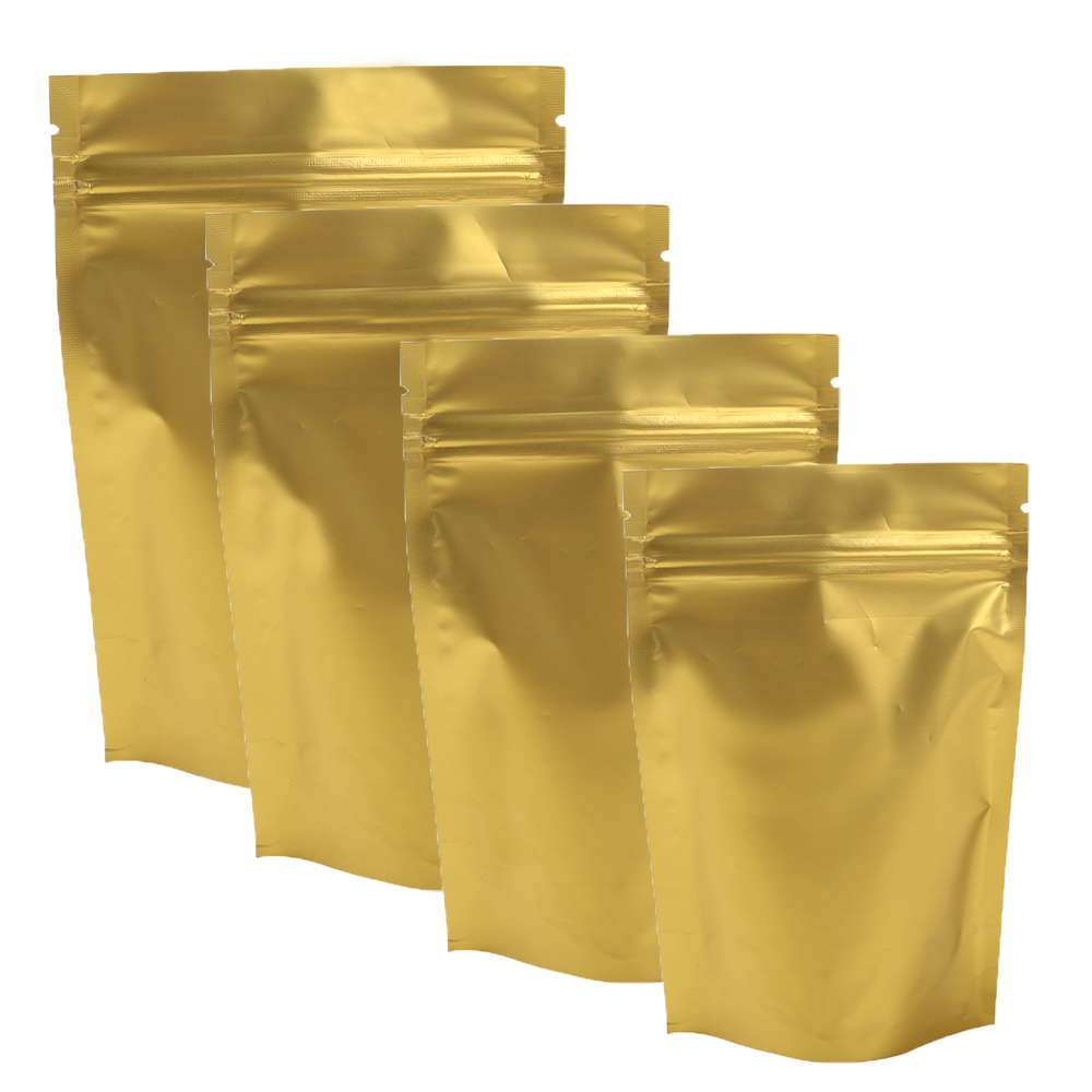Accept Custom LOGO 100X Durable Matte Gold Ziplock Metallic Mylar Packing Bags Heat Sealable Stand Up Zip Lock Bags Pouches