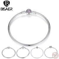 BISAER Authentic 100 925 Sterling Silver Snake Bracelet Chain Heart Bangle Bracelet Luxury Jewelry