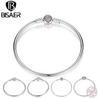BISAER Authentic 100 925 Sterling Silver Snake Bracelet Chain Heart Bangle Bracelet Luxury Jewelry