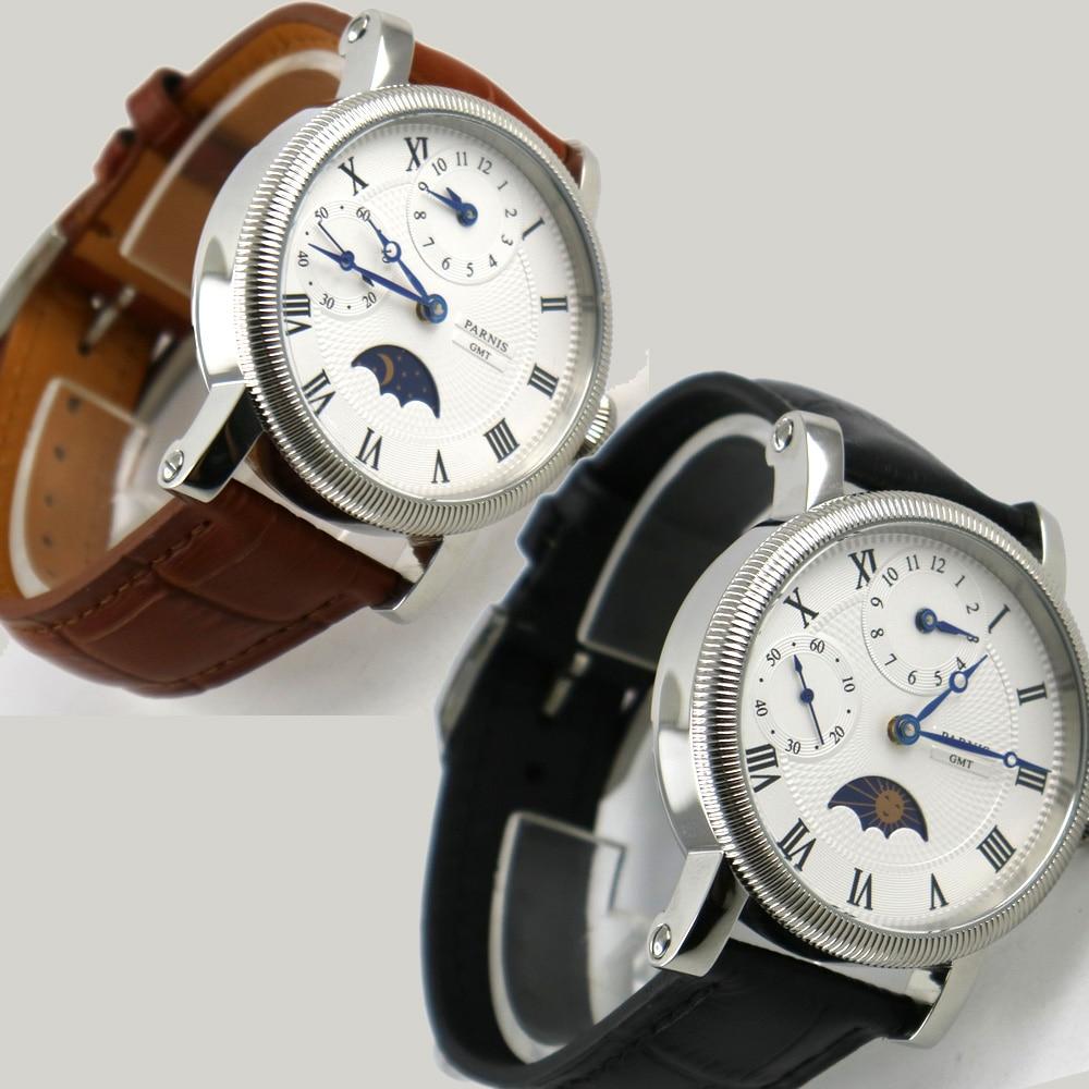42mm parnis cadran blanc marques bleues bracelet en cuir GMT Phase de lune montre pour hommes mécanique automatique-in Montres mécaniques from Montres    1