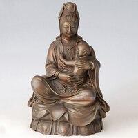 Статуя Гуаньинь Будды бронза ремесло держит ребенка ребенок статуэтки китайский Будда Скульптура дома Гостиная Ферниш Декор B 99