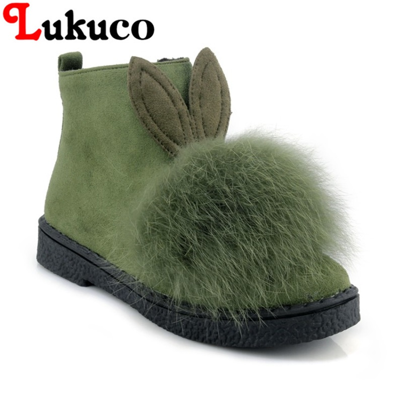 2018 Lukuco casual lady boots plus size 39 40 41 42 43 44 45 snow boots warm fur design shoes short plush inside free shipping