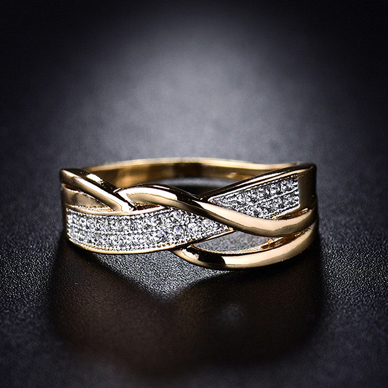 Size 6 7 8 9 10 Gifts Engagement High Quality Valentine Present Rings Silver Women Crystal Golden 1PC Hot Sale Cross Seaside