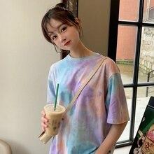 Woman Tie Dye Harajuku Funny Tshirt Summer poleras mujer de moda 2019 Hip Hop Te