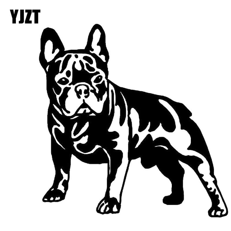 YJZT 12.6CM*12.7CM BULLDOG DOG Lovely Vinyl Car Sticker Decals Black/Silver C10-00343
