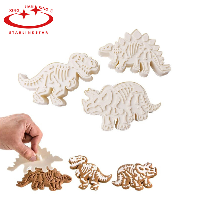StarLinkStar. 3pcs/set Dinosaur Cookies Cutter Biscuit Mould Set Baking Tools Cutter Tools Cake Decoration Bakeware Mold Kitchen
