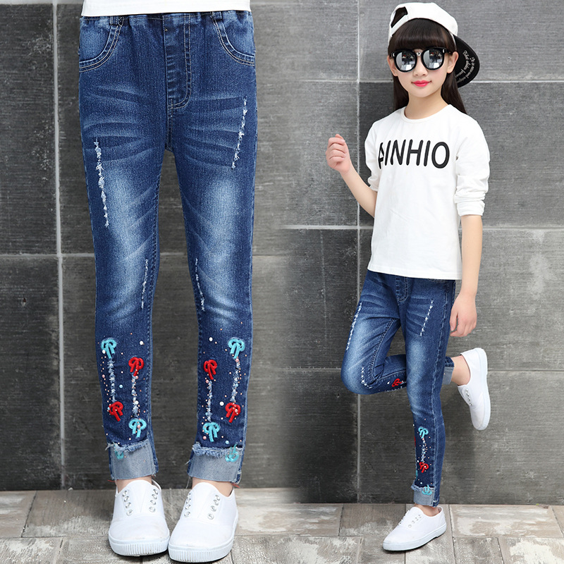 Spring Children Clothes Girls Jeans Solid Slim Holes Denim New Design Causal Jeans For Girls Big Kids Long Trousers Y610 2017 fashion mens patch jeans slim straight denim biker jeans trousers new brand superably jeans ripped dark jeans men u329