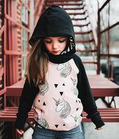 Siyah Pembe Uzun kollu Bebek Hoodies Tişörtü 2017 Sokak Moda Kapüşonlu Giyim Karakter Hayvan Çocuk giyim