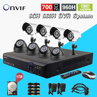 Home 8CH H 264 Surveillance Network 960h DVR Day Night Waterproof Camera DIY Kit CCTV Security