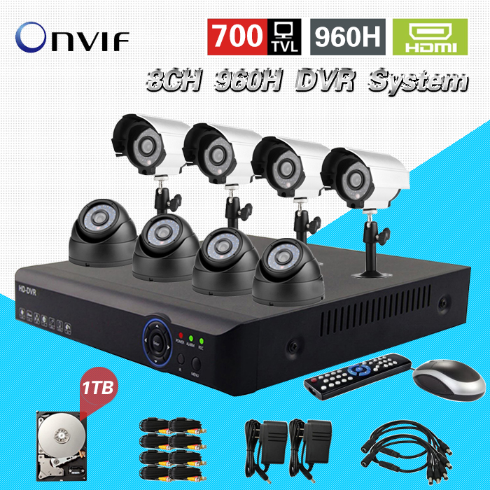 TEATE 8CH H.264 Surveillance Network 960h DVR Day Night Waterproof Camera Kit CCTV Security 8 ch Video System 1TB HDD CK-015