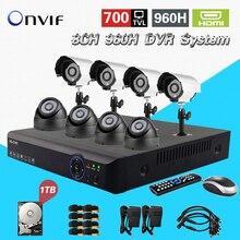 TEATE 8CH H.264 Rede de Vigilância DVR 960 h Dia e Noite À Prova D' Água Camera Kit Sistema de Vídeo de Segurança CCTV 8 ch 1 TB HDD CK-015