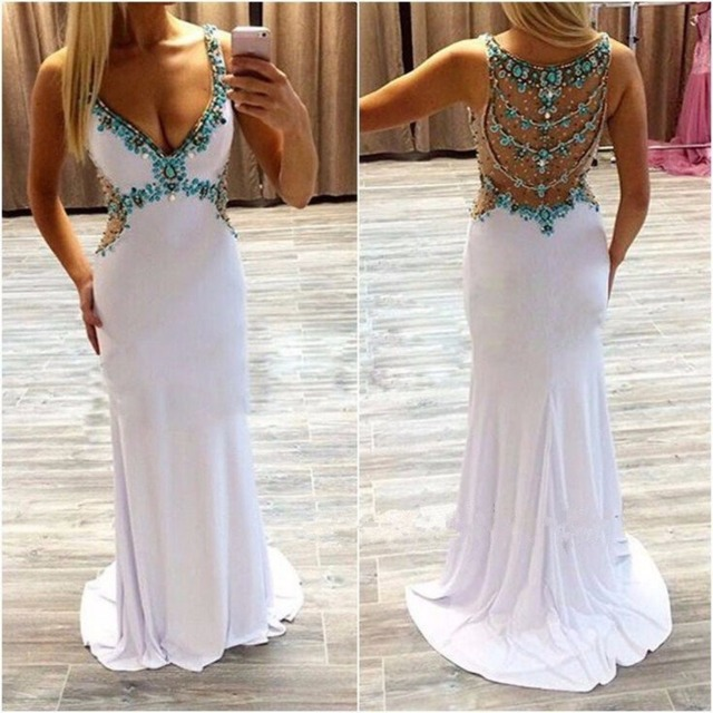 White Y See Through Back Spaghetti Straps Crystal Bead Patterns V Neck Evening Dress