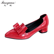Hot Shoes Women Casual Sweet Pumps Patent Leather Bow Pointed Toe Thick Low Heels Slip On 2017 Spring Female Red Pumps Big Size