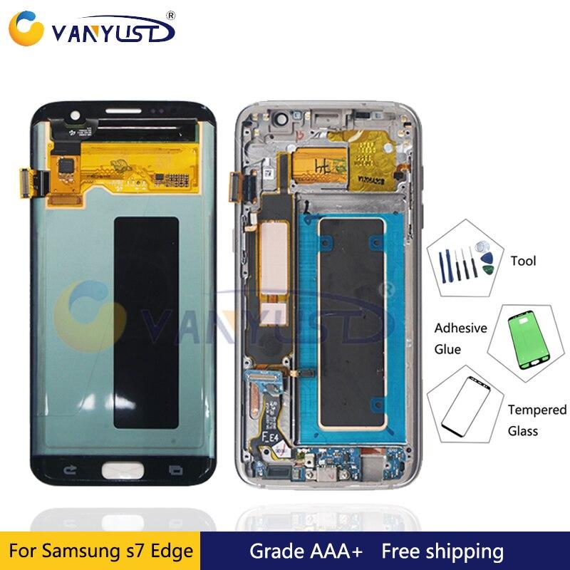 100% Testé Super Amoled LCD Écran Tactile Digitizer Assemblée pour Samsung Galaxy S7 bord g935 g935f g935fd Affichage Remplacement