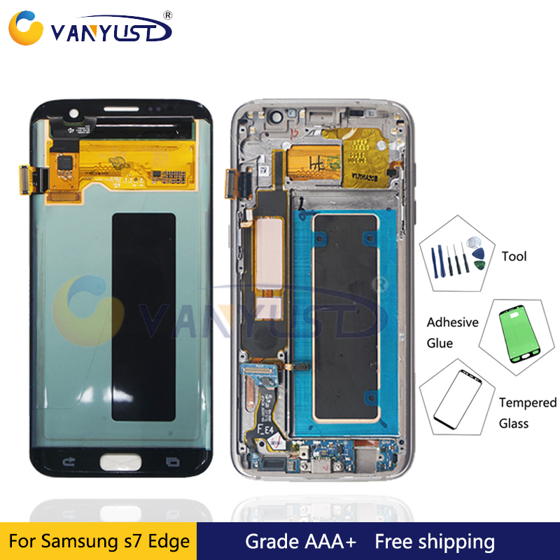 100% getestet Super Amoled LCD Screen Touch Digitizer für Samsung Galaxy S7 rand g935 g935f g935fd Display Ersatz