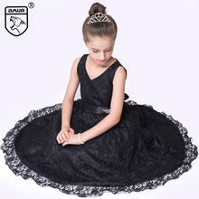 2017 Summer Girls Dress for Wedding Party Princess Kids Clothing Sleeveless Lace Dresses Prom Gowns Teen Costume robe ado V-neck