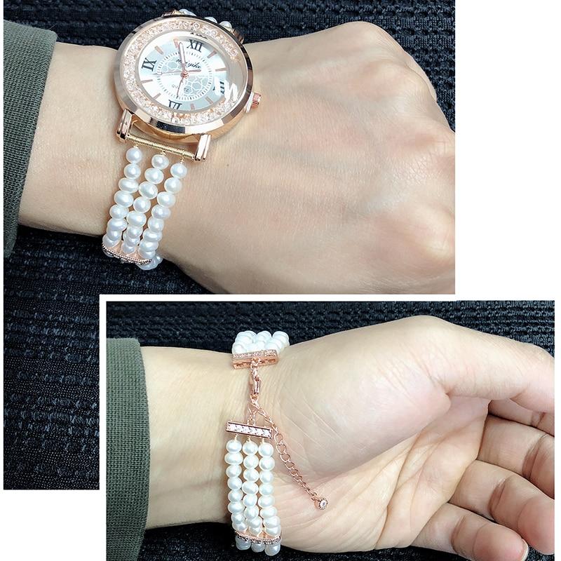 Beau vrai bracelet de perles d'eau douce naturelles montre femmes, cadeau d'anniversaire de bracelet de fille à la mode