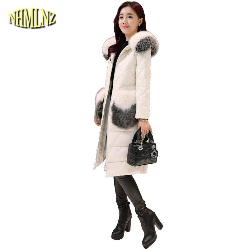 Col de fourrure De Mode duvet de canard Blanc Des Femmes Vers Le Bas veste 2019 Nouveau Chaud À Capuchon de Haute qualité Tempérament de Femmes Vers Le Bas veste LH384