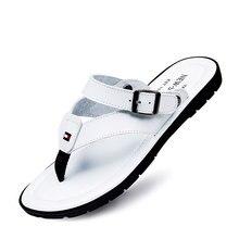Белые мужские вьетнамки черные кожаные сандалии мужские летние пляжные тапочки моды дизайнер сандалии пляж вьетнамки обувь T032105