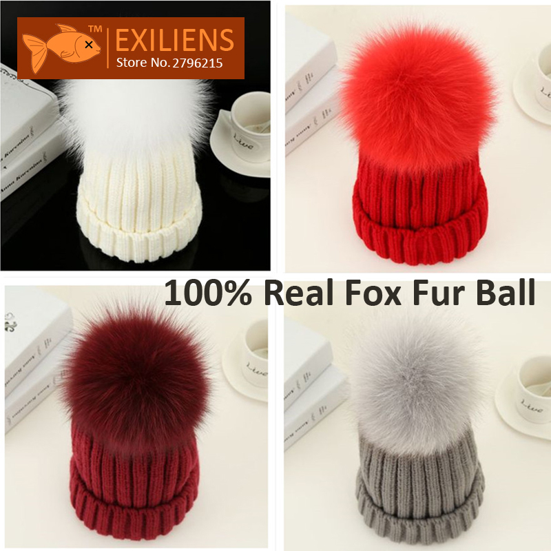 Lady 100 Real Fox Fur Ball Pom pom Beanies Wool Winter Hat For Women Warm Knitted