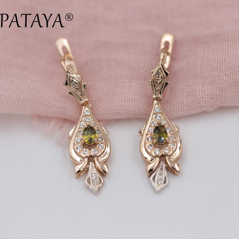 PATAYA Love 585 Rose Gold Long Earrings s