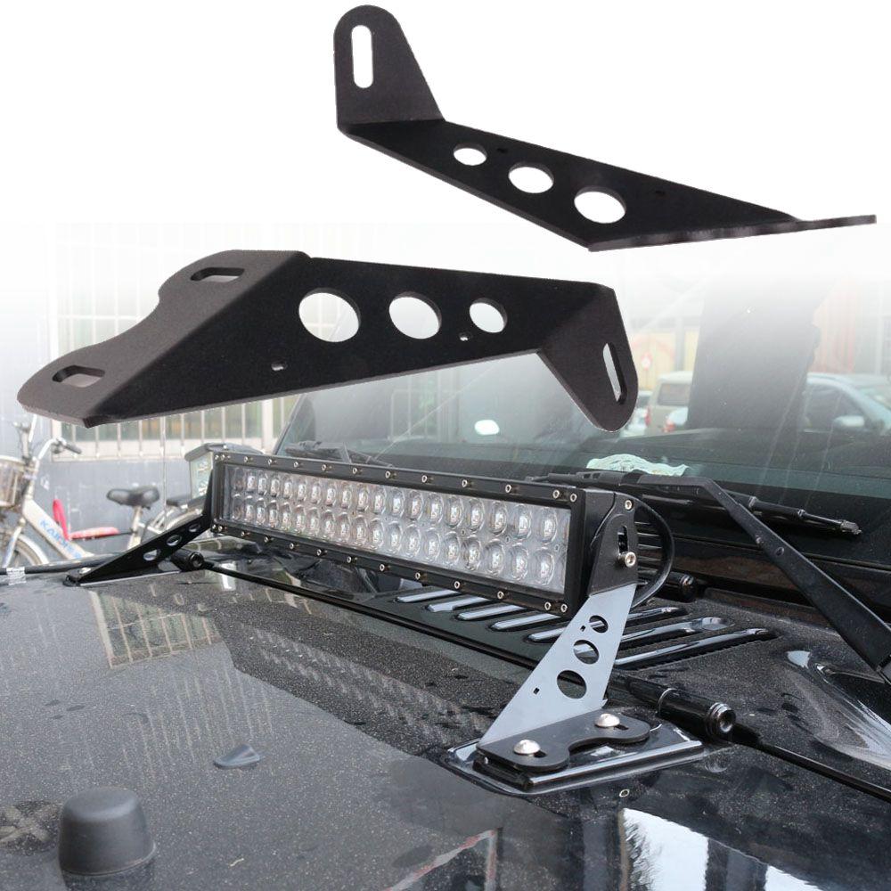 20 Inch LED Straight Stainless Light Bar Mounts Hood Mounting Bracket Fit for Jeep Wrangler JK 2007-2017