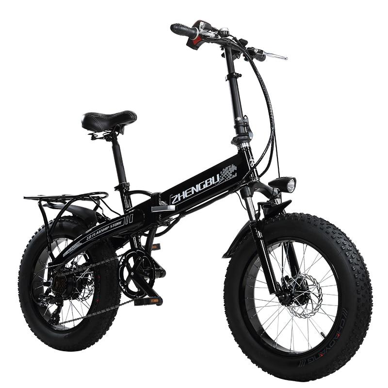 48 В 10Ah литиевая батарея, 350 Вт Мощный двигатель, 20 4,0 ширина зимняя резина велосипед, складной электрический велосипед, Fat Bike, MTB горный велоси...