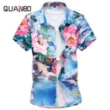 QUANBO 2018 New Summer Casual Men's Short sleeve shirt Plus size 5XL 6XL 7XL hawaiian Men Floral Shirt Camisa Masculina