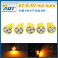 100 Pack Pinball led AC/DC 6.3 Volt 4* SMD3528 LED Chip w5w #555 194 168 T10 Wedge Super White For Williams Pinball Machine
