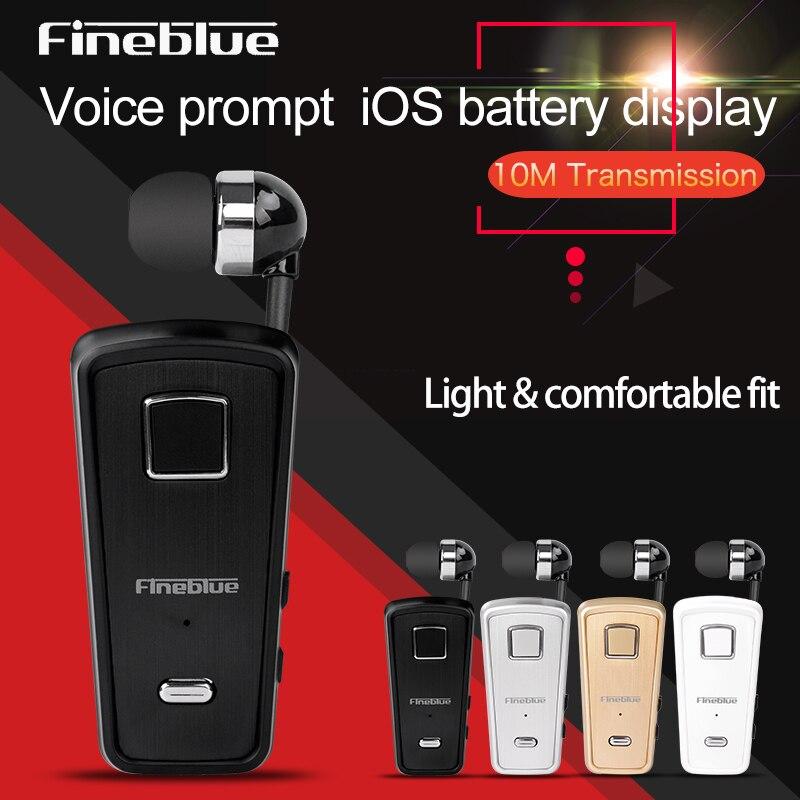 FineBlue F980 Auricolari Bluetooth Senza Fili Portatile Vivavoce Auricolare Stereo Retrattile Auricolare Clip Su Auricolare Per Cellulare