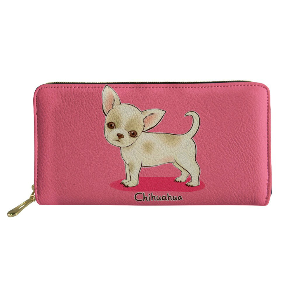 THIKIN Chihuahua Women Leather Wallet Dachshund Female Fashion Phone Purses Cards Holder Girl Coin Purse Clutch Custom Money Bag