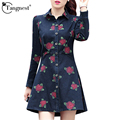 TANGNEST Women Jean Jacket 2016 Spring Autumn New Slim Floral Print Skirt Hem Turn Down Collar Full Sleeve Women Coat WWF479
