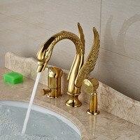 Роскошный золотой Лебедь Стиль Ванная комната Ванна смеситель кран Палуба Гора одной ручкой с латуни ручной