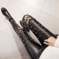 Large size Spring Lady PU leather Pencil Pants Women Solid Lace Rivet Jeans Female Black Red Trousers New Fashion 2019