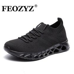 FEOZYZ Low Top Laufschuhe Männer Frauen Atmungsaktive Stricken Oberen Turnschuhe Frauen Männer Plus Größe 35-48 Leichte Outdoor sport Schuhe