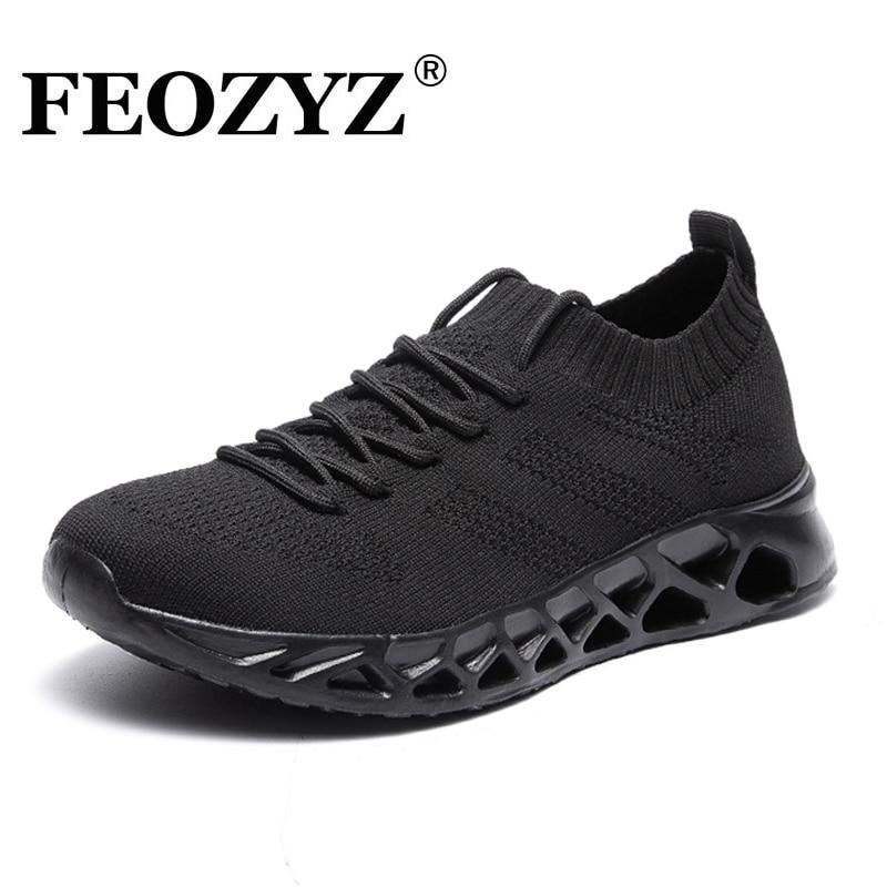 FEOZYZ Low Top Running Shoes Men Women Breathable Knit Upper Sneakers Women Men Plus Size 35