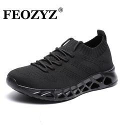 FEOZYZ/низкие кроссовки для бега для мужчин и женщин, Дышащие Трикотажные кроссовки для мужчин и женщин, большие размеры 35-48, легкая уличная