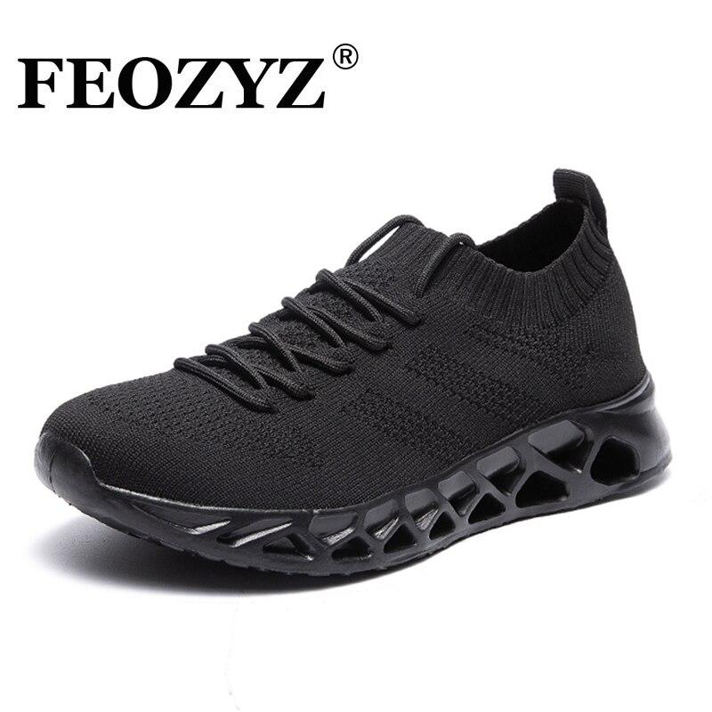 FEOZYZ zapatos de correr bajos para hombre y mujer transpirables de punto superior zapatillas de deporte para hombres y mujeres talla grande 35-48 ligero al aire libre zapatos de deporte