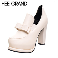 HEE GRAND Women Ankle Pumps 2017 NEW Sexy Square High Heels Butterfly Knot PU Leather Shoes Women For Spring Size 35 39 XWD1579