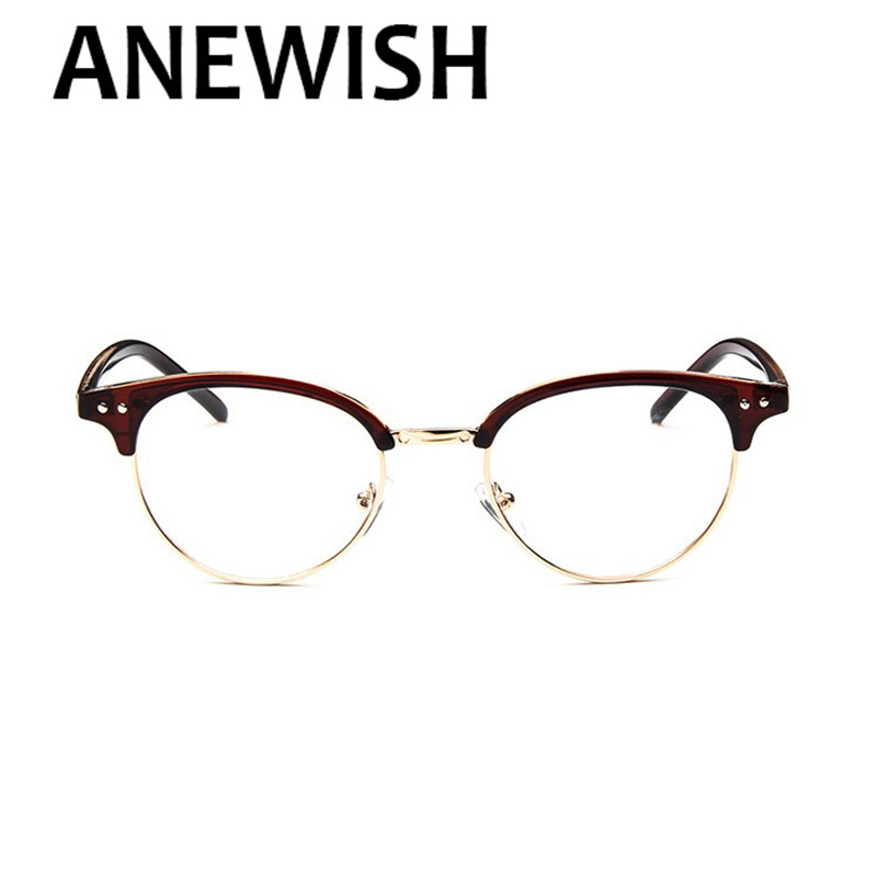 0c7e3d3b0d2 ANEWISH Vintage Half-frame Eye Glasses Brand Design Men Retro Cat Eye Style Frame  Eyeglasses Women Oculos De Grau Feminino  192