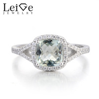 Leige Jewelry Anniversary Ring Natural Green Amethyst Ring 925 Sterling Silver Ring Cushion Cut Fine Gemstone Gifts for Women