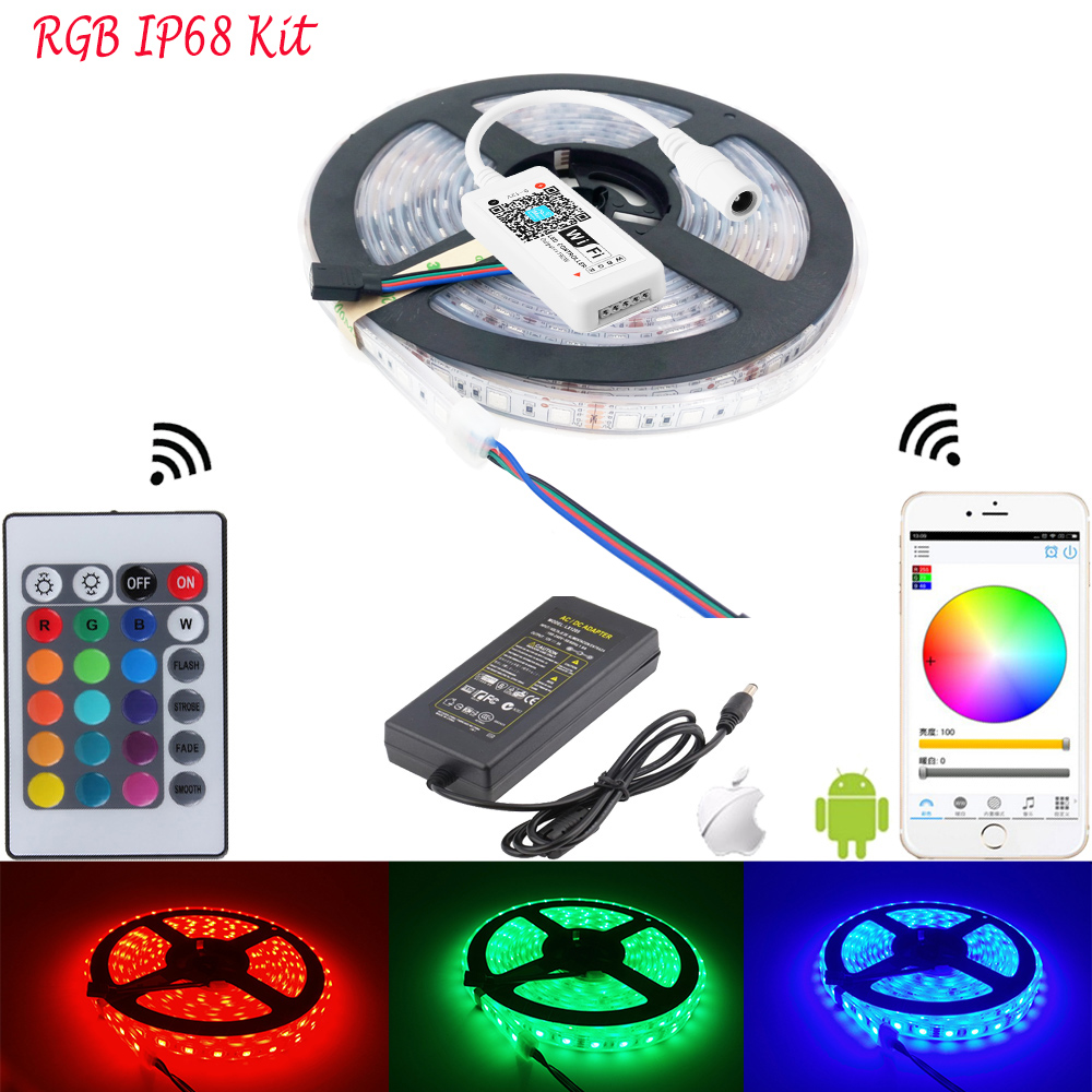 HTB10GR6aOnrK1Rjy1Xcq6yeDVXad 5M WiFi Bluetooth LED Strip DC 12V SMD 5050 Non waterproof Flexible RGB Tape Ribbon Light Works With Amazon Alexa Google Assist